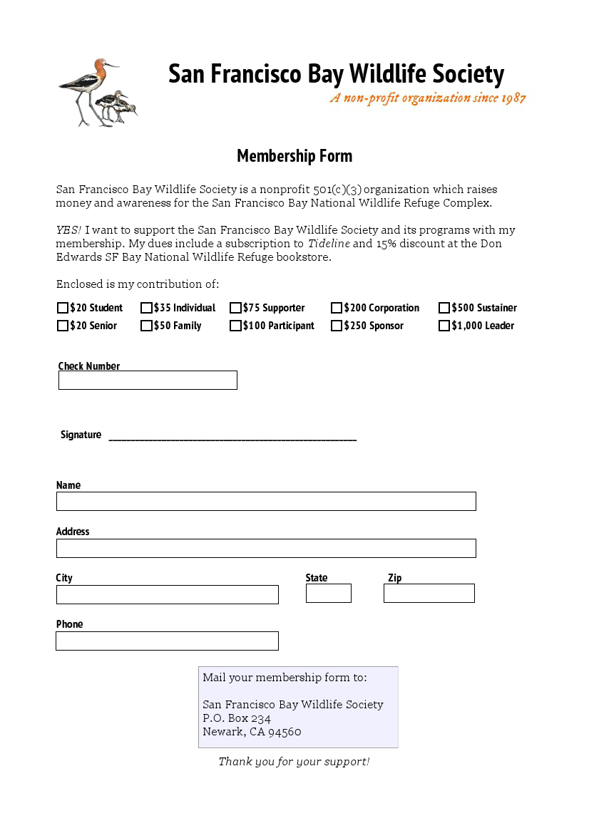 San Francisco Bay Wildlife Society Membership Form