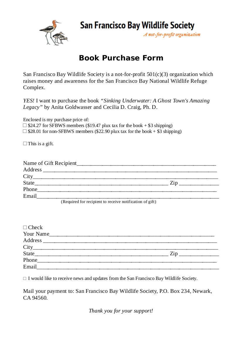 San Francisco Bay Wildlife Society book Purchase Form - Sinking Underwater by Craig and Goldwasser